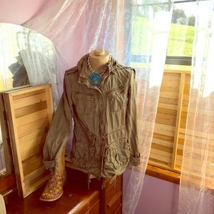 Army green utility jacket. Max jeans